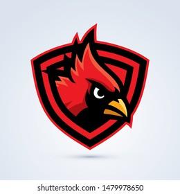 Red cardinal bird esport logo