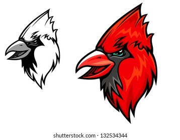 Red cardinal bird head in cartoon style. Vector illustration for mascot design. Jpeg (bitmap) version also available in gallery