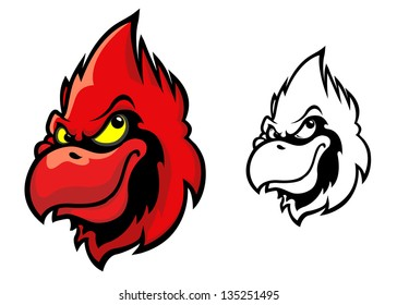 Red cardinal bird head in cartoon style for sports mascot design. Jpeg version also available in gallery