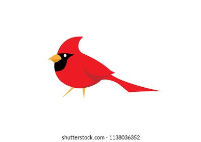 Red Cardinal Bird Logo Symbol Vector Design Illustration