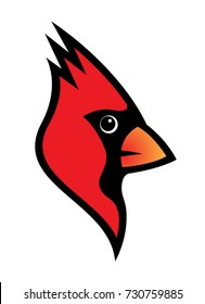 Red cardinal bird logo vector illustration isolated on white background