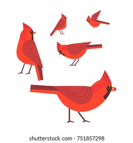 Red Cardinal birds icon set. Freehand cartoon cute style. Winter birds of city garden, parks collection. Stylized animal emblem. Element for banner background. Vector design of advertisement label