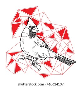 Red Cardinal on polygonal background