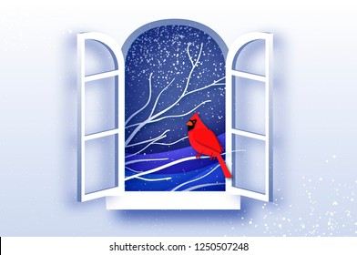 Red Cardinal in paper cut style. Tree under the snowfall. Merry Christmas greetings card in paper cut style. Winter season holidays. Happy New Year. Blue. Snowfall. Origami window frame