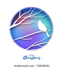 Red cardinal sitting on a branch. Beautiful Merry Christmas Greeting Card.Bird sitting on a birches branch in paper cut style. Origami Fall winter. Happy holidays. Blue Gradient background. Vector
