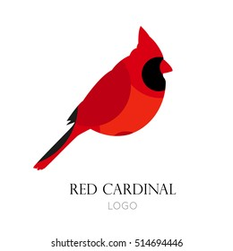 Red cardinal vector icon. Logo. Flat design.