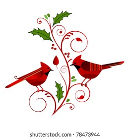 red cardinals with christmas flourish