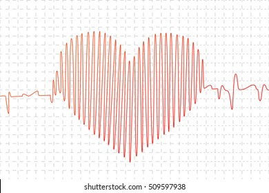 Red cardiogram graph in heart shape on white