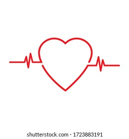 Red cardiogram sign with a heart on a white background. Vector illustration. Stock Photo.