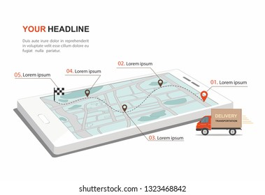 Red Cargo Delivery transporation Business infographic with transport on smartphone. Isometric vector Illustration