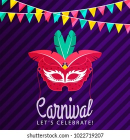 red carnival mask with red and green feathers on purple background including colorful flags and white typography