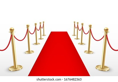 Red carpet with barriers, event celebration and award ceremony. Celebrity festival entrance for famous guests. Vector illustration