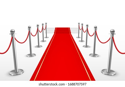 Red carpet with barriers for event or party. Elegant ceremony celebration design for celebrity. Vector realistic style illustration