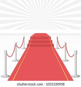 Red carpet of cinema award event. Red Carpet Stage.