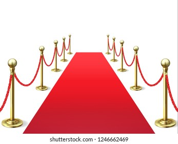 Red carpet. Event celebrity carpets with rope barrier. Vip interior. Hollywood academy movie premiere vector background