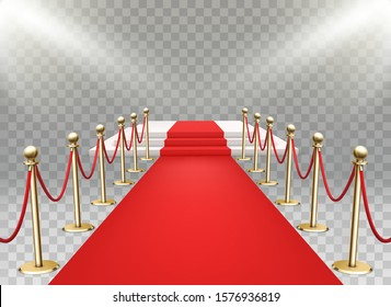 Red carpet event with three-step podium. Gold queue rope barriers posts stands. Realistic spotlights