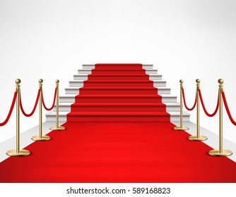 Red carpet event with white marble stairs and gold queue rope barriers posts stands realistic vector illustration
