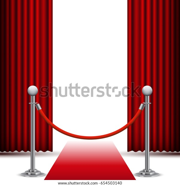 Red carpet and fence before the curtain, vector background