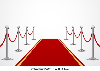 Red carpet with fence, isometric background, isolated on white