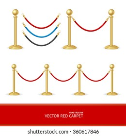 Red Carpet Gold Barrier Constructor. Vector illustration