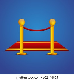 Red carpet and gold barrier rope icon on blue