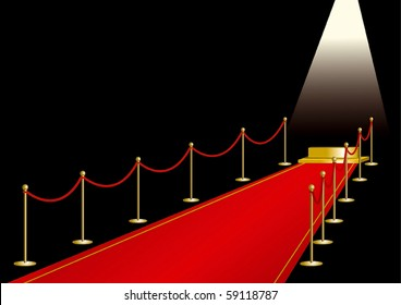 Red carpet with gold stage