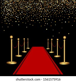 Red carpet and golden barriers. Luxurious holiday. Grand opening. Shiny fence on a black background.