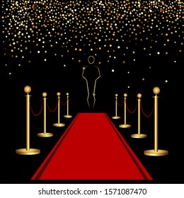 Red carpet and golden barriers. Luxurious holiday. Grand opening. Shiny fence on a transparent background.