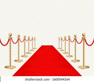 Red carpet and golden barriers realistic isolated on transparent background. Vector illustration
