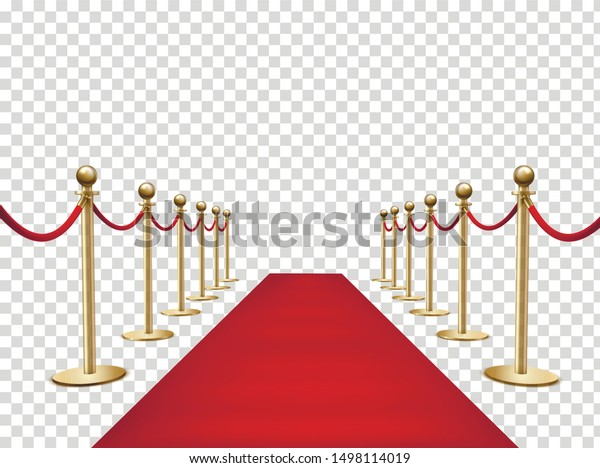 Red carpet and golden barriers realistic 3d vector illustration. VIP event, luxury celebration. Celebrity party entrance. Grand opening. Shiny fencing on transparent background. Cinema premiere