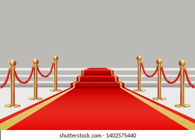 Red carpet. Golden fencing and red carpet with a rise on the stage. Vector illustration in realistic style.