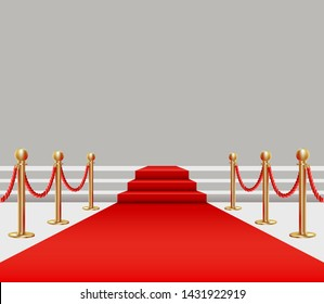 Red carpet. Golden fencing and red carpet with a rise on the stage.