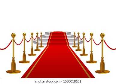 Red carpet with golden metal barriers and rope leading to steps to a podium or stage on white blank copy space for a VIP event, vector illustration