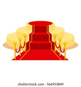 Red carpet for holiday greeting ceremonies. Award, honoring the winners, famous people, celebrities. Flat vector cartoon carpet illustration. Objects isolated on a white background.
