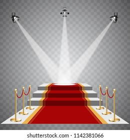 Red carpet illuminated by soffits on a transparent background.