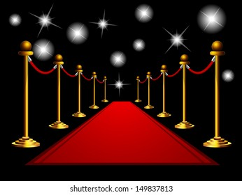 Red carpet at night.
