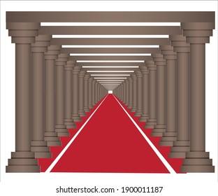 red carpet with piller art work
