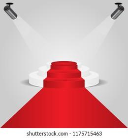 Red carpet podium with spotlight, stock vector