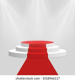 Red carpet and podium. White round pedestal with stairs isolated on background. Stage for winners and award ceremony. Vector