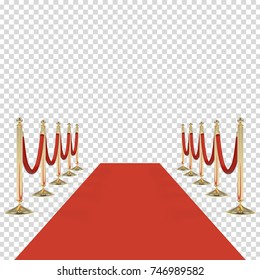Red carpet with red rope, golden stanchions. Exclusive event, movie premiere, gala, ceremony, awards concept. Blank template illustration with space for object, person, logo, text. Vector illustration