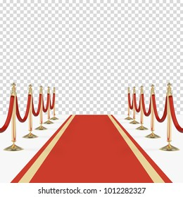 Red carpet and red ropes on golden stanchions with place for your image or text. Vector illustration