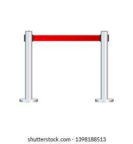Red carpet with red ropes on golden stanchions. Exclusive event, movie premiere, gala, ceremony, awards concept. Vector stock illustration.