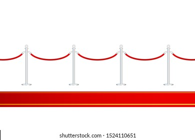 Red carpet with red ropes on golden stanchions. Exclusive event, movie premiere, gala, ceremony, awards concept. Vector illustration.