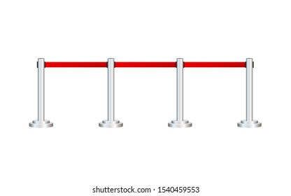 Red carpet with red ropes on silver stanchions. Exclusive event, movie premiere. Vector stock illustration.