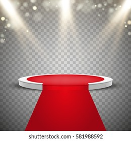 Red carpet and round podium with lights effect, abstract background, vector
