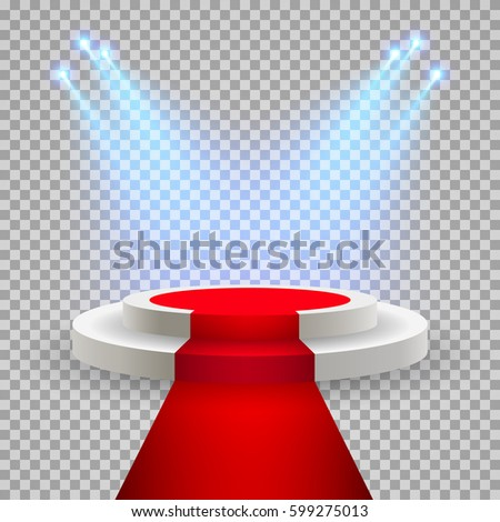 Red carpet with round podium. Pedestal or platform, illuminated by spotlights. Stage with scenic lights. EPS 10 vector illustration.