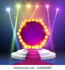 Red carpet with a round podium and retro frame illuminated by spotlights. Stage with scenic lights. Show invitation concept. Stage podium with ceremonial red carpet. EPS 10 vector illustration.