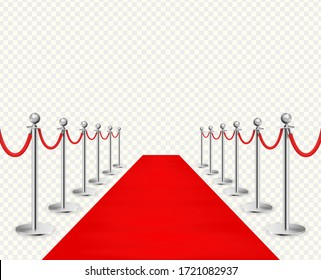 Red carpet and silvery barriers realistic isolated on transparent background. Vector illustration