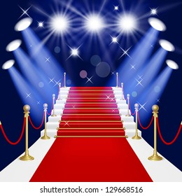 Red carpet with spotlight. Mesh.This file contains transparency.EPS10. Clipping Mask.