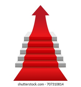 Red carpet stairs arrow image. Vector illustration.